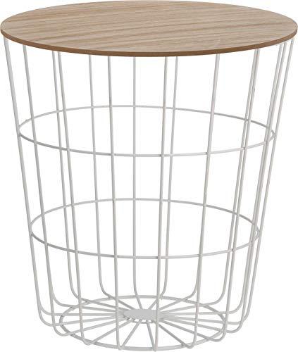 Meinposten. Bijzettafel tafel opbergruimte mand salontafel metaal hout nachtkastje wit B-product
