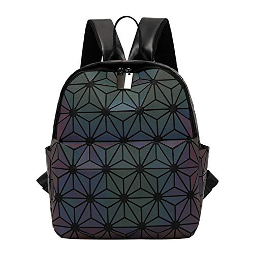 Ladies Backpack Luminous Backpack Diamond Check Schoolbag Lightweight Zipper Backpack(Size:25 * 14 * 31cm,Color:Luminous)