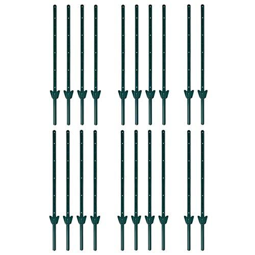 ESTEXO Zaunpfosten Zaunanker Erdanker Zaunhalter für Sechseckgeflecht und Volierendraht (20x 157 cm/Grün RAL 6005)