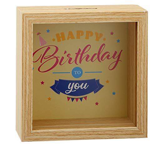 MC Trend Spardose Happy Birthday Sparbüchse zum Geburtstag Geldgeschenk Verpackung Geld Geschenk-Idee Sparschwein (Happy Birthday to You Braun)