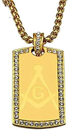 niuziyanfa Co.,ltd Collares de Placa de Perro Cuadrados de Color Dorado con Diamantes de imitación Helados masónicos U0026 Colgantes para Hombres Joyería Collares de Perlas Longitud 60 cm