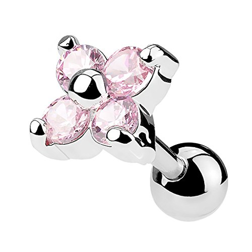 Piercingfaktor Piercing Ohr aus Chirurgenstahl Helix Tragus Ohrpiercing Cartilage Barbell Stecker Kristall Blume Pink