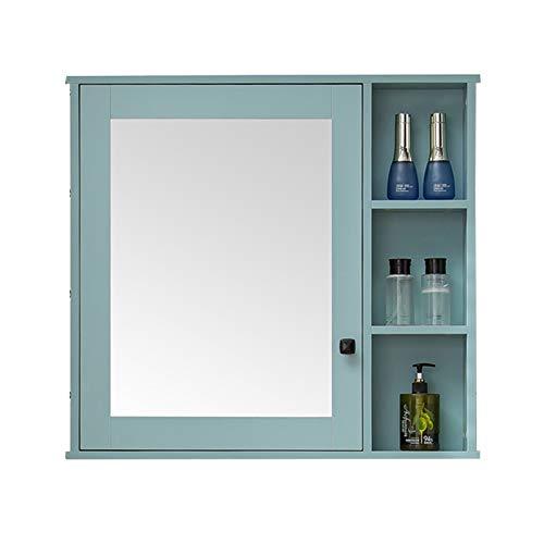 Armarios con espejo Armarios de medicinas Baño Rectangular Baño De Lavabo De Piso Baño Gran Espacio De Almacenamiento (Color : Blue, Size : 80 * 75cm)