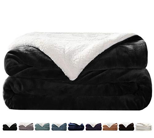 LIANLAM Sherpa Fleece Blanket Queen Size Dual Sided Blanket Super Soft and Warm Fuzzy Plush Cozy Luxury Bed Blankets Microfiber (Dark Grey, 90'x90')