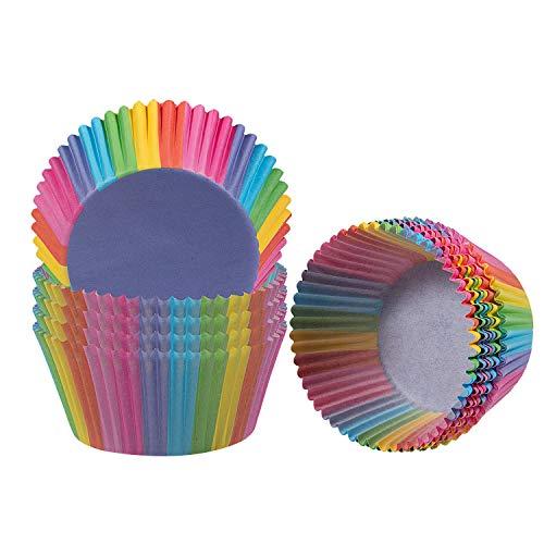 WolinTek 200 pz pirottini per Muffin e Cupcake coppetta di Carta Rainbow per Muffin Cupcake Gelatine Dessert Torta Compleanni Feste Decorazione Baking Cup
