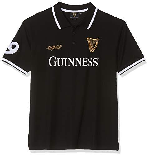 Générique Guinness BLK Guin 59 White STR Collar S/S Polo Noir, X (Taille du Fabricant:X-Large) Homme
