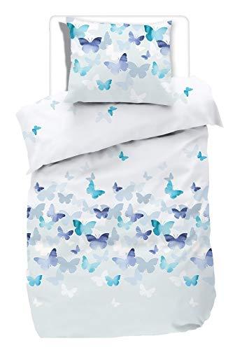 etérea Mako Satin Bettwäsche - 100% Baumwolle Superweiches Bettbezug Set - Lilu Schmetterlinge - 135 x 200 cm mit Kissenbezug 80 x 80 cm - Blau Natur