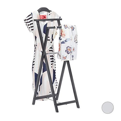 Relaxdays Indossatore Porta Abiti Pieghevole, Servomuto per Giacche e Pantaloni, con Ripiano, Omino Appendiabiti, Legno MDF, Grigio, 118 x 44 x 54 cm