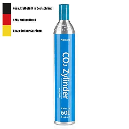 Homewit CO2 Zylinder, Neu & Erstbefüllt in Deutschland, 425g Kohlendioxid für ca. 60 L Wasser, geeignet für SodaStream Wassersprudler (z.B. Crystal 2.0, Crystal, Easy) usw, TÜV bis 2030