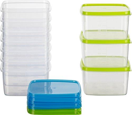 Kigima Frischhaltedose Gefrierbehälter 0,5l quadratisch 11x11x6,4 cm 10er Set blau und grün