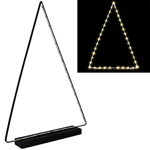 Grundig LED Deko Licht Dreieck Metall batteriebetrieben warmweiße LED Metalldreieck Dekolicht Tischlampe Dreiecks Leuchte