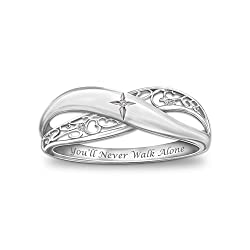 'Pure Faith' Engraved Sterling Silver Diamond Ring