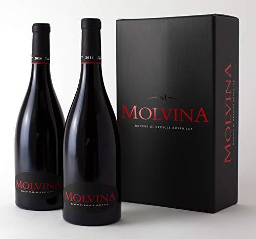 MOLVINA   Ronchi di Brescia Rosso IGP 2016   Vino Rosso Pregiato Italiano   Vino rosso intenso con riflessi rubino. Invecchiato in botti di rovere di Slavonia fino a 50 mesi (2 x 0.75 Lt bottiglie)