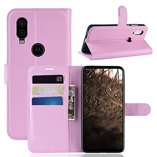 Capa Capinha Carteira 360 Para Motorola Moto One Vision Com Tela De 6.3Polegadas Case Couro Sintético Flip Wallet Para Cartão - Danet (Rosa)