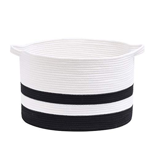 catalpa yao Cesta de cuerda de algodón XXXL grande de 50 x 33 cm, almacenamiento de ropa sucia con asas para mantas, juguetes y cesta tejida para guardería (blanco y negro)