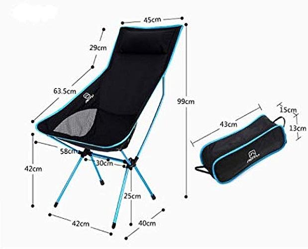 Zhicaikeji Chaise Pliante extérieure Ultra-légère en Alliage d'aluminium, Chaise de Lune de Loisirs pour la pêche au Dos