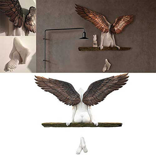3D Angel Wings Wall Art Angel Art Sculpture Wall Decoration 3D Statue, for Living Room Bedroom Decoration Gifts for Mothers Day (3117.5CM)