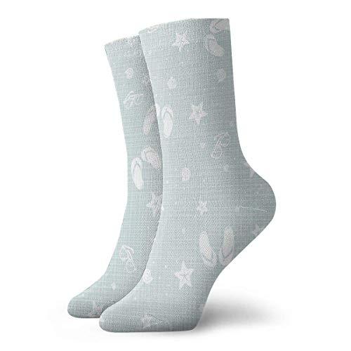 Playa temática decoración conchas marinas estrellas de mar chanclas gafas verano vacaciones imagen calcetines para mujer calcetines divertidos 30 cm