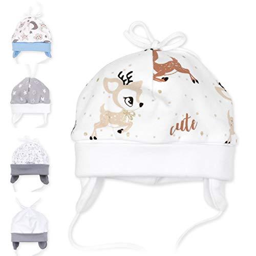 Baby Sweets Unisex Baby Mütze für Mädchen und Jungen in Braun Beige als Erstlingsmütze im REH-Motiv/Babymütze für Neugeborene & Kleinkinder zum Binden in der Größe: 9 Monate (74)