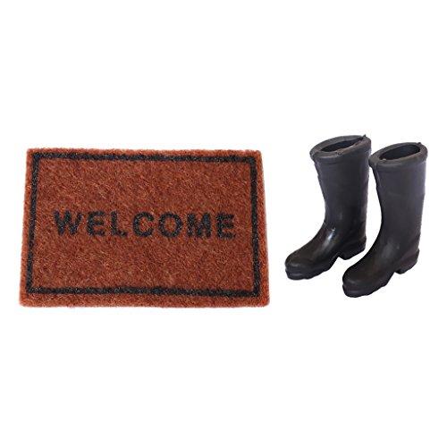 P Prettyia Miniatur Teppichdecke Teppich und Gummi Regen Stiefel für 1:12 Puppenhaus Garten Dekoration