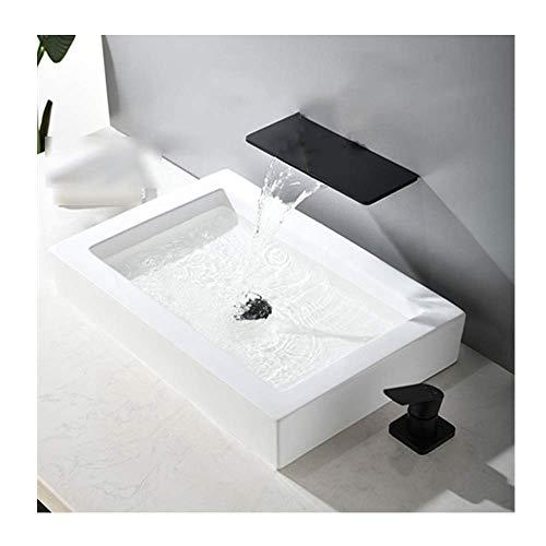 Waterval wastafel Kraan met plank Messing Koud en warm Water Mixer wassen Basin Kraan one-Hand wastafel Kraan voor Badkamer Wandgreep Deskhandlestyle