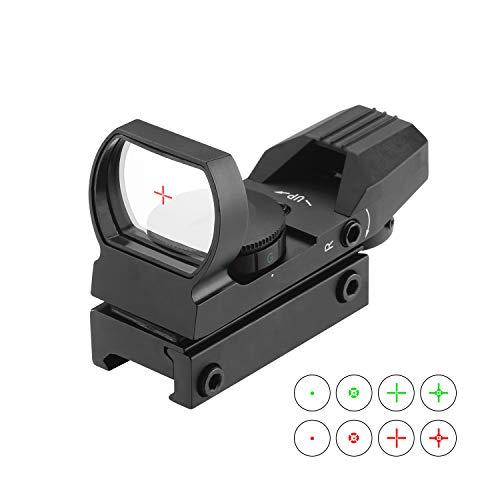ESSLNB Red Dot Visier Scope Sight Leuchtpunktvisier für 20mm/22mm Schiene mit Montage Schutz und Tactical 4 Reticles