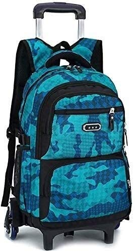 no bran Backpack Children's School Bags Backpack Schoolbag Waterproof Scroll Wheel Wheeled Luggage Bag Pupils Backpack (Color : Lake Blue, Size : Free size)