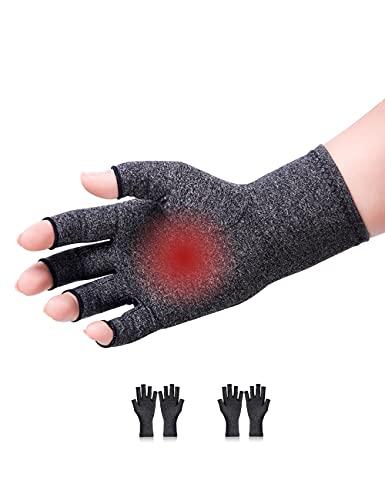 2 Pairs Arthritis Hand Compression Gloves Fingerless Design for Men Women...