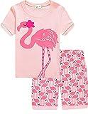 Eulla Pijama para niña, corto, unicornio, algodón, pijama 4 flamencos 116 cm