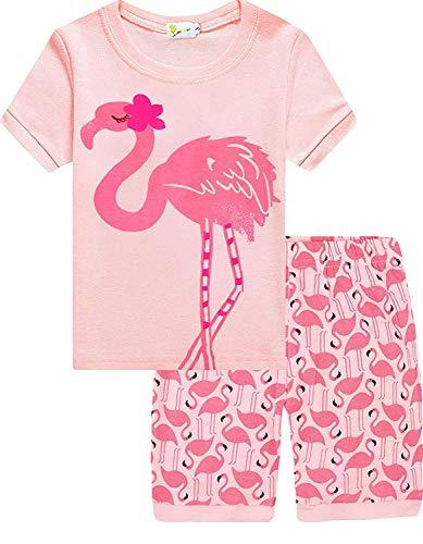 EULLA Kinder Mädchen Schlafanzug Kurz Baumwolle Einhorn Pyjama Schlafanzug Hosen Oberteile, 4-flamingo, 98(Herstellergröße:4T)