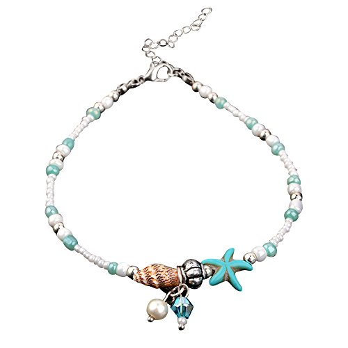 Ankle Bracelets for Women Girls, Women's Starfish Shell Foot Chain Conch Sandal Anklets Beads Bracelet, Adjustable Boho Anklet Chain Beach Foot Jewelry