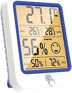 hkwshop Higrómetro para Interior Termómetro Interior Interior Termómetro Higrómetro Interior Monitor de Temperatura Reloj ...