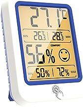 Termómetro Higrómetro Termómetro interior interior Termómetro Higrómetro interior Monitor de temperatura Reloj de tiempo LCD Pantalla de pantalla Digital Termohigrómetro ( Color : Orange )