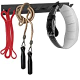 MyGift Wall Mounted Black Metal Sports Fitness Center Gym Equipment Organizer Hooks Rack for Resistance Bands, Jump Ropes, and Weight Belts