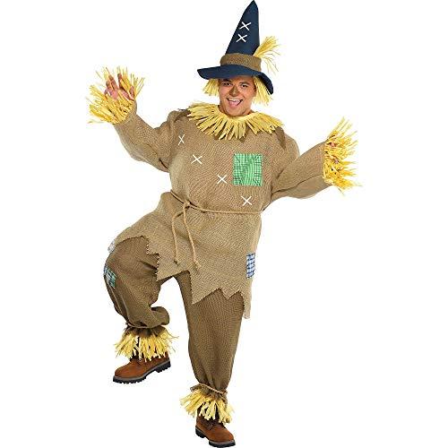 amscan- Brown Mr. Scarecrow with Pointed Hat for Plus Size-1 PC Costume de Monsieur Épouvantail avec Chapeau Pointu pour Adulte-Grande Taille-1 pièce, 844982-55, Multicore, (Chest: Up to 56\