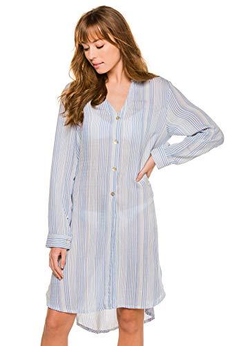 J. VALDI Women's Wovens Two Way Striped Shirt Dress Swim Cover Up Blue/White M