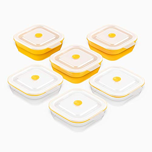 Collapse-it Silicone Food Storage Containers - BPA Free Airtight Silicone Lids Collapsible Lunch Box Containers - Oven Microwave Freezer Safe Yellow 6 2-Cup Set