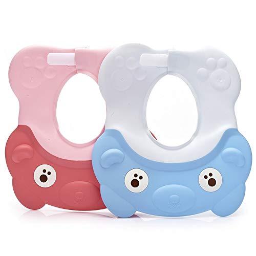Children Shampoo Cap Adjustable Baby Shower Cap Protection Shampoo Baby Waterproof Earmuffs Soft Silicone Shampoo Cap 2 Pieces