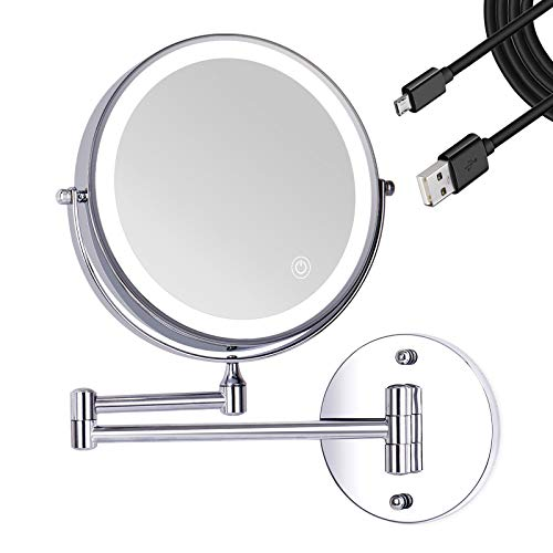 Liouhoum Wall Mounted Makeup Mirror - 8 Inch 1X/10X Magnifying Lighted Vanity Mirrors with 3 Color Lights, Screen Touch, Double Sided Rechargeable Dimmable 360° Chrome Shaving Mirror for Bathroom