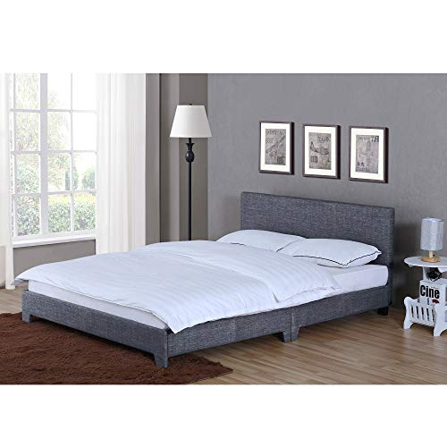 Vida Designs Victoria Double Bed, 4 ft 6 Bed Frame Upholstered Fabric Headboard Bedroom Furniture, Dark Grey Linen