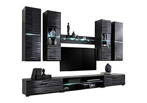 KRYSPOL Wohnwand Blade 4 Anbauwand, Wohnzimmer-Set, Modern Design (Schwarz/Sahara Glanz)