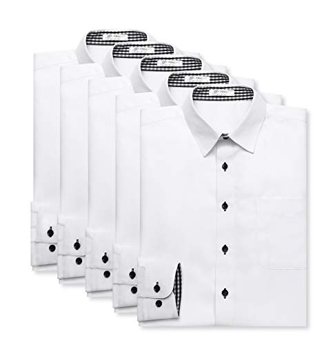 ワイシャツ メンズ 5枚セット 形態安定 ノーアイロン 長袖 白シャツ 無地 白 Yシャツ ドレスシャツ カッターシャツ 就活 ビジネス お洒落 レギュラー