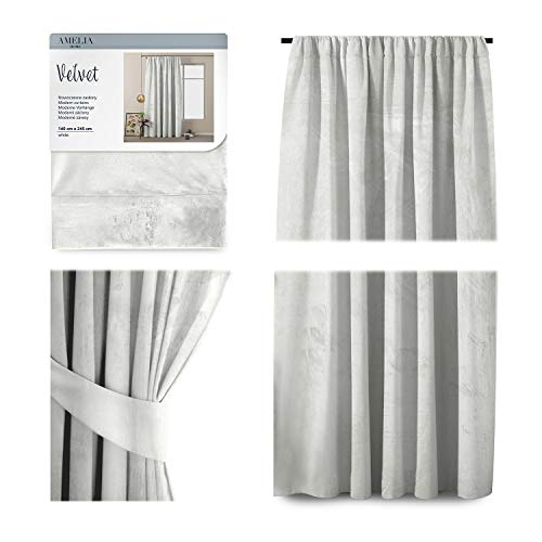 AmeliaHome Vorhang Velvet Optik 140x245 cm weiß 1 St. Kräuselband Samt Verdunkelungsvorhang Fensterdekoration Dekoschal Dekorvorhang