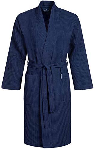 Morgenstern Waffelpique Bademantel Herren Morgenmantel Blau leicht Männer Saunabademantel Kimono Herrenbademantel Baumwolle Dunkelblau kurz Größe M
