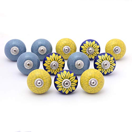 Handbemalte Keramik-Türgriffe, Schrankgriffe, Schubladengriffe von Meloso (12, Yellow Flower Multi)