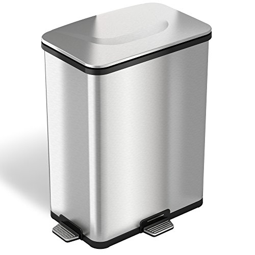 iTouchless AutoStep PRO Automatic Step Trash Can with Odor Control System, Stainless Steel, 13 Gallon, Powered by Batteries (not Included) or Optional AC Adapter (Sold Separately)