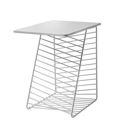 Home&Selected fineer/bijzettafel voor woonkamer, ijzer, hoekbank, tafel, slaapkamer, nachtkastje, balkon, fabriek, 17,7 inch, 14,9 inch, 19,6 inch (kleur: zwart) Wit