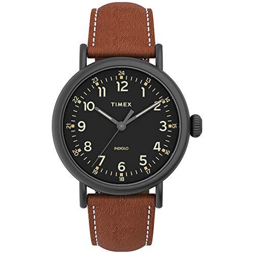 Timex Men's Standard 40mm Quartz Leather Strap, Brown, 20 Casual Watch (Model: TW2U58600VQ)
