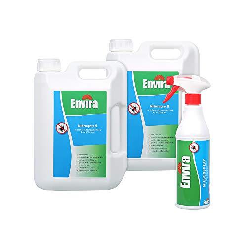 Envira Milben-Spray - Anti-Milben-Mittel Mit Langzeitwirkung - Geruchlos & Auf Wasserbasis - 2x2Ltr+500ml