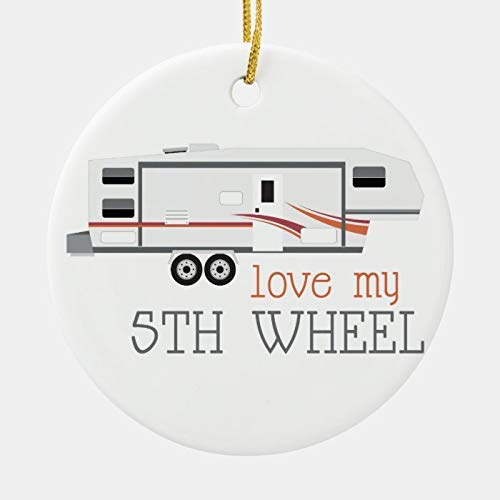 happygoluck1y Love My 5Th Wheel Christmas Ornament,Porcelain Ornaments Personalized,Christmas Tree Decoration Ornaments,Keepsake Ornaments,2020 Funny Gifts,for Kids,Family